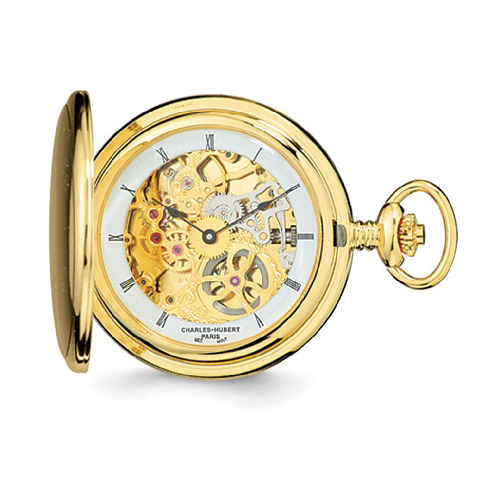 Charles Hubert IP-plated Stnlss Steel Skeleton Dial Pocket Watch 54mm, Item W8587 by The Black Bow Jewelry Co.
