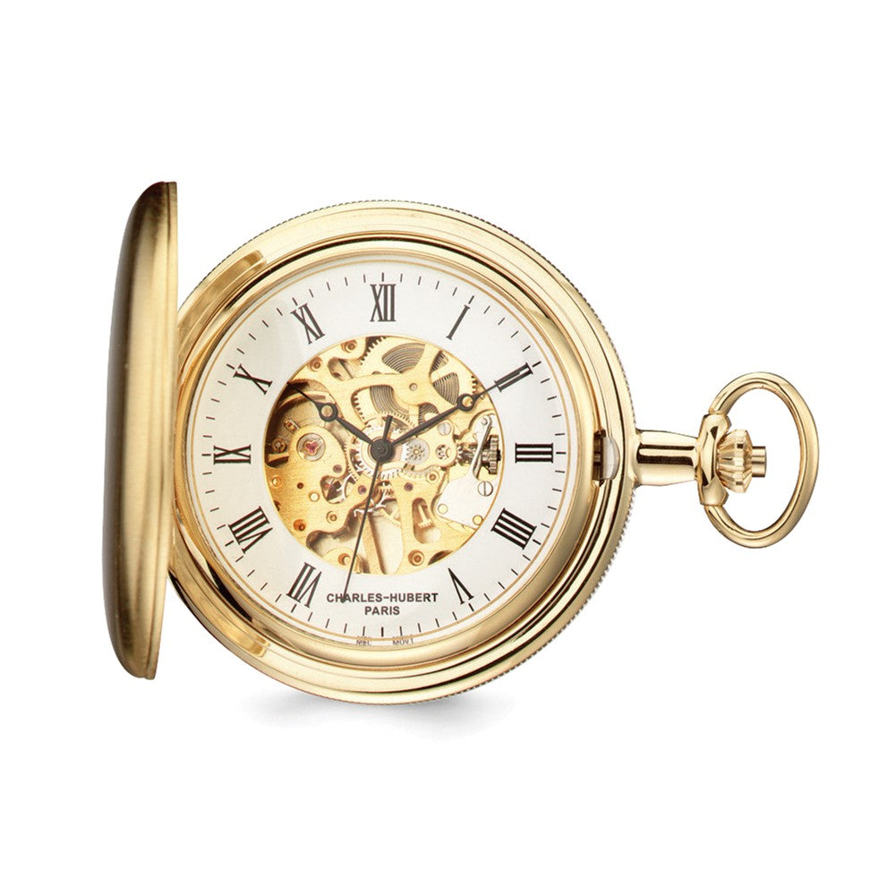 Charles Hubert Gold Finish Skeleton Dial Pocket Watch, Item W8604 by The Black Bow Jewelry Co.