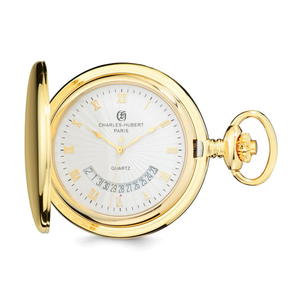 Charles Hubert Gold Finish White Dial Pocket Watch 47mm, Item W8607 by The Black Bow Jewelry Co.