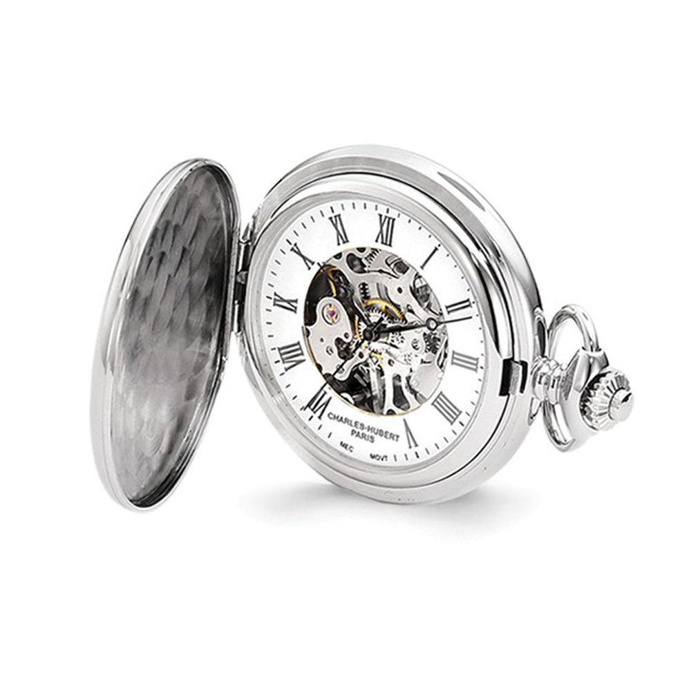 Charles Hubert Chrome-finish Shield Design Pocket Watch 47mm, Item W8618 by The Black Bow Jewelry Co.