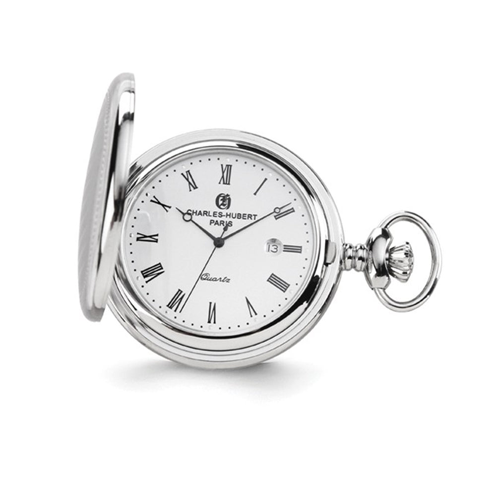 Charles Hubert Stainless Steel Oval Design Pocket Watch, Item W8632 by The Black Bow Jewelry Co.