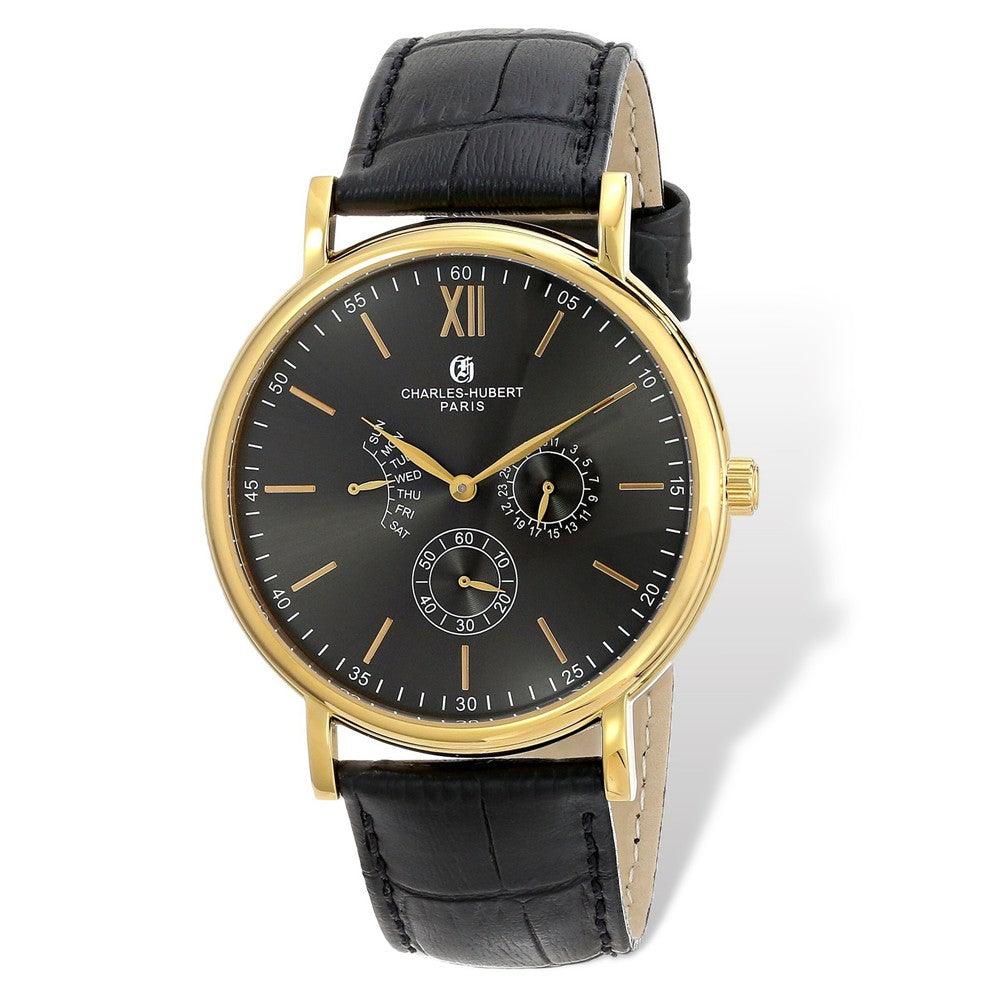 Charles Hubert Mens Gold Tone Stainless Black Leather Band 46mm Watch, Item W8637 by The Black Bow Jewelry Co.