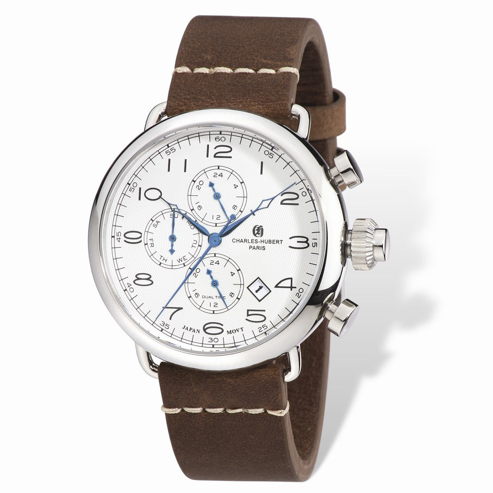 Charles Hubert Men's Stainless Brown Leather Band 46mm Dual Time Watch, Item W8642 by The Black Bow Jewelry Co.
