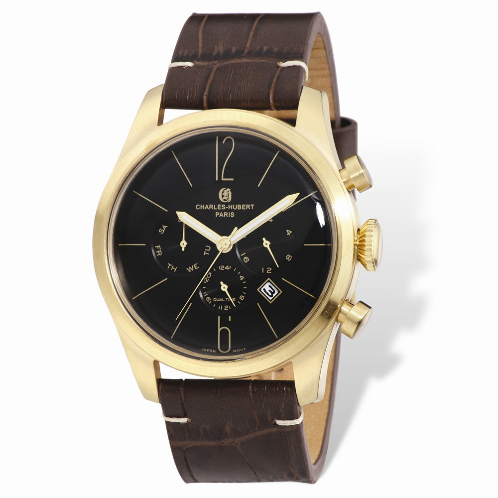 Charles Hubert Mens IP-plated Stainless 46mm Dual Tme Watch, Item W8643 by The Black Bow Jewelry Co.