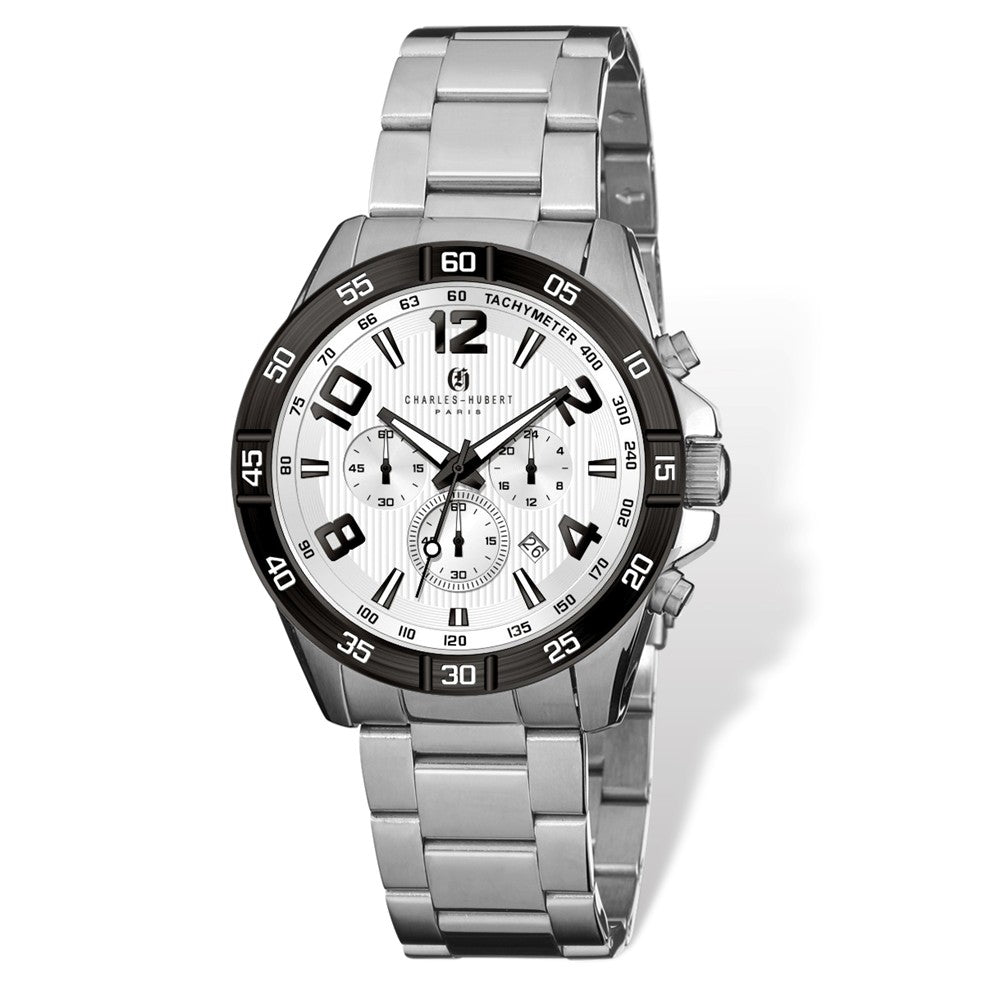 Charles Hubert Mens Stainless Steel White Dial Chronograph Watch, Item W8655 by The Black Bow Jewelry Co.
