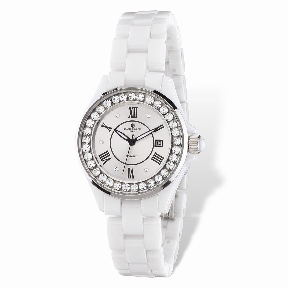 Charles Hubert Ladies Crystal Bezel White Ceramic Watch, Item W8662 by The Black Bow Jewelry Co.