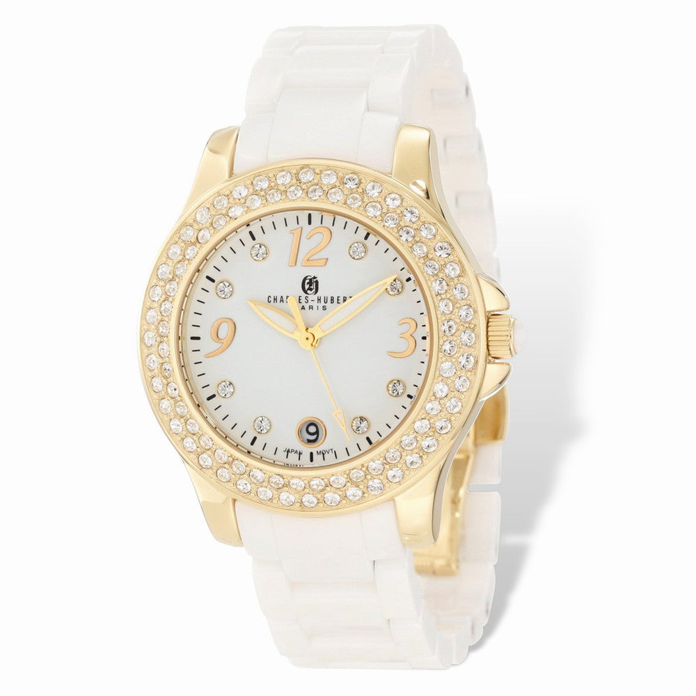 Charles Hubert Ladies White Ceramic, Gold Tone & Crystals 40mm Watch, Item W8668 by The Black Bow Jewelry Co.