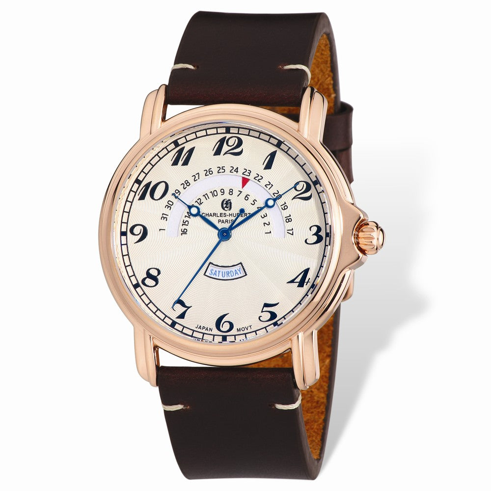 Charles Hubert Mens Rose IP-plated Leather Band Round Watch, Item W8672 by The Black Bow Jewelry Co.