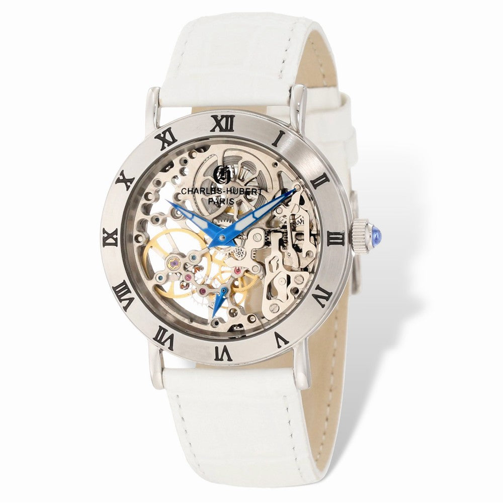 Charles Hubert Ladies Stainless 35mm Skeleton Dial Leather Band Watch, Item W8678 by The Black Bow Jewelry Co.