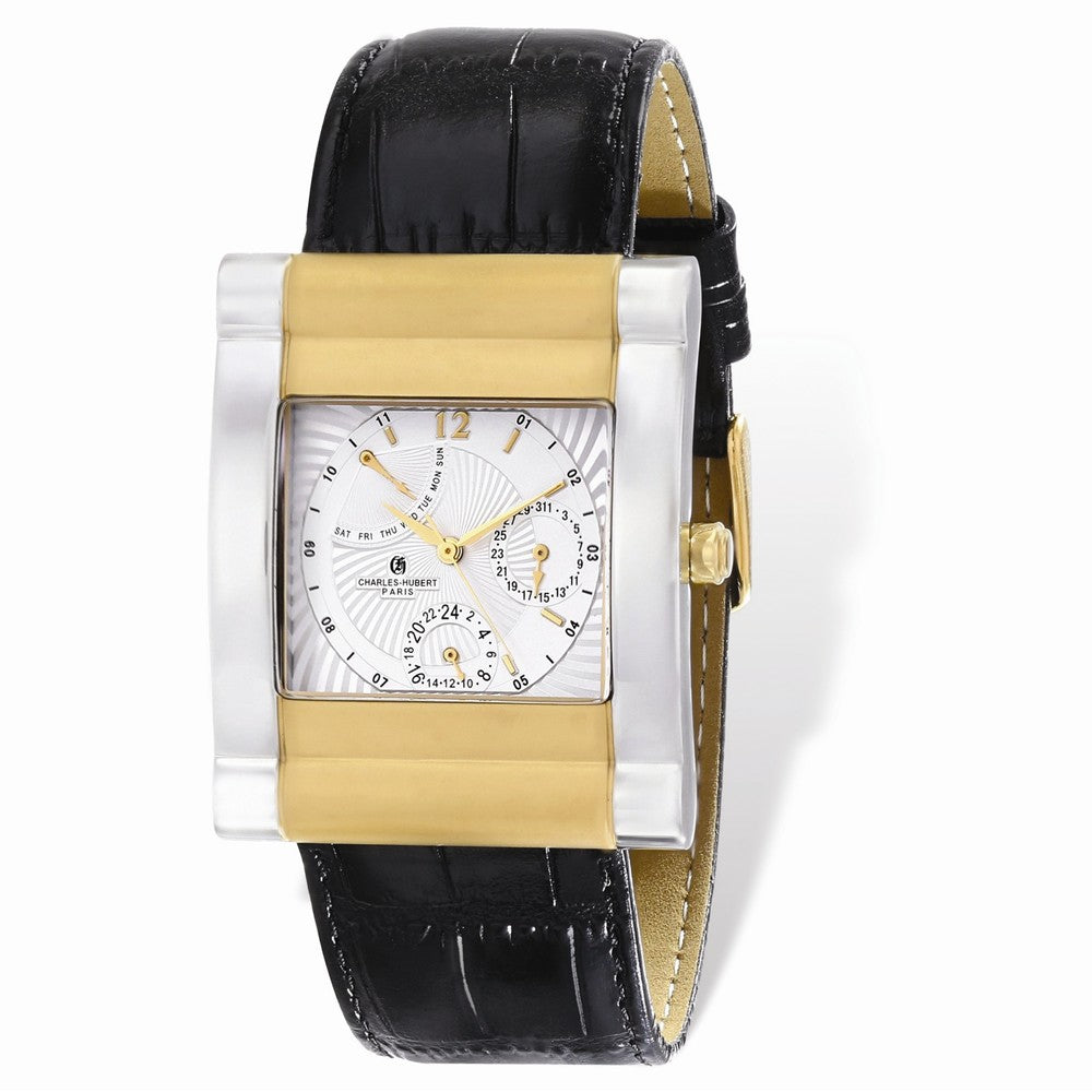 Charles Hubert Mens IP 2-Tone Stnlss Leather Band 35x43mm Watch, Item W8686 by The Black Bow Jewelry Co.