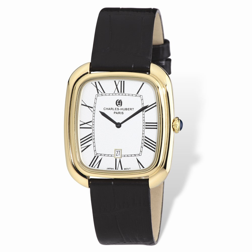 Charles Hubert Mens IP-plated Square Face Leather Band Watch, Item W8689 by The Black Bow Jewelry Co.