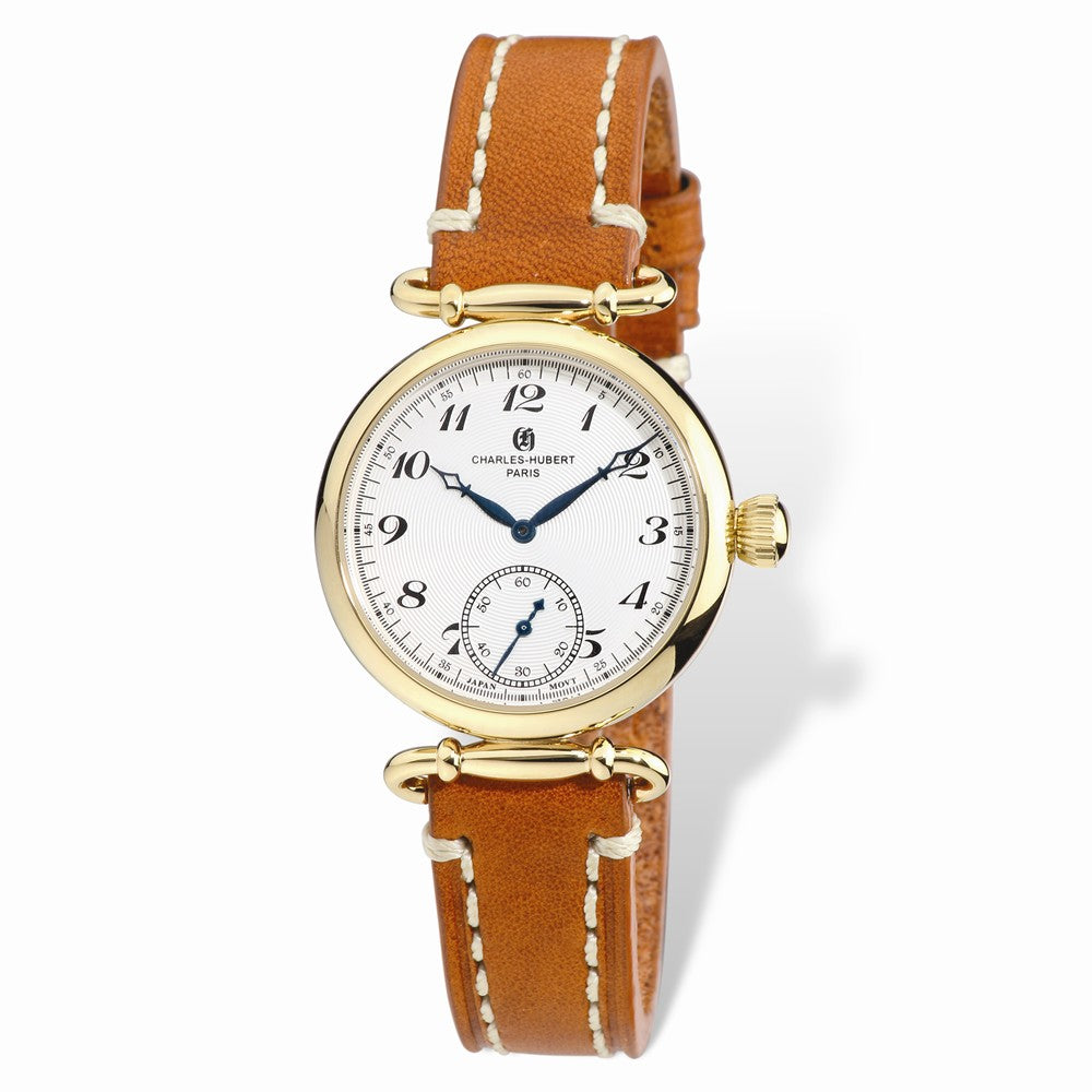 Charles Hubert Ladies IP-plated Stainless Leather Band 34mm Watch, Item W8702 by The Black Bow Jewelry Co.