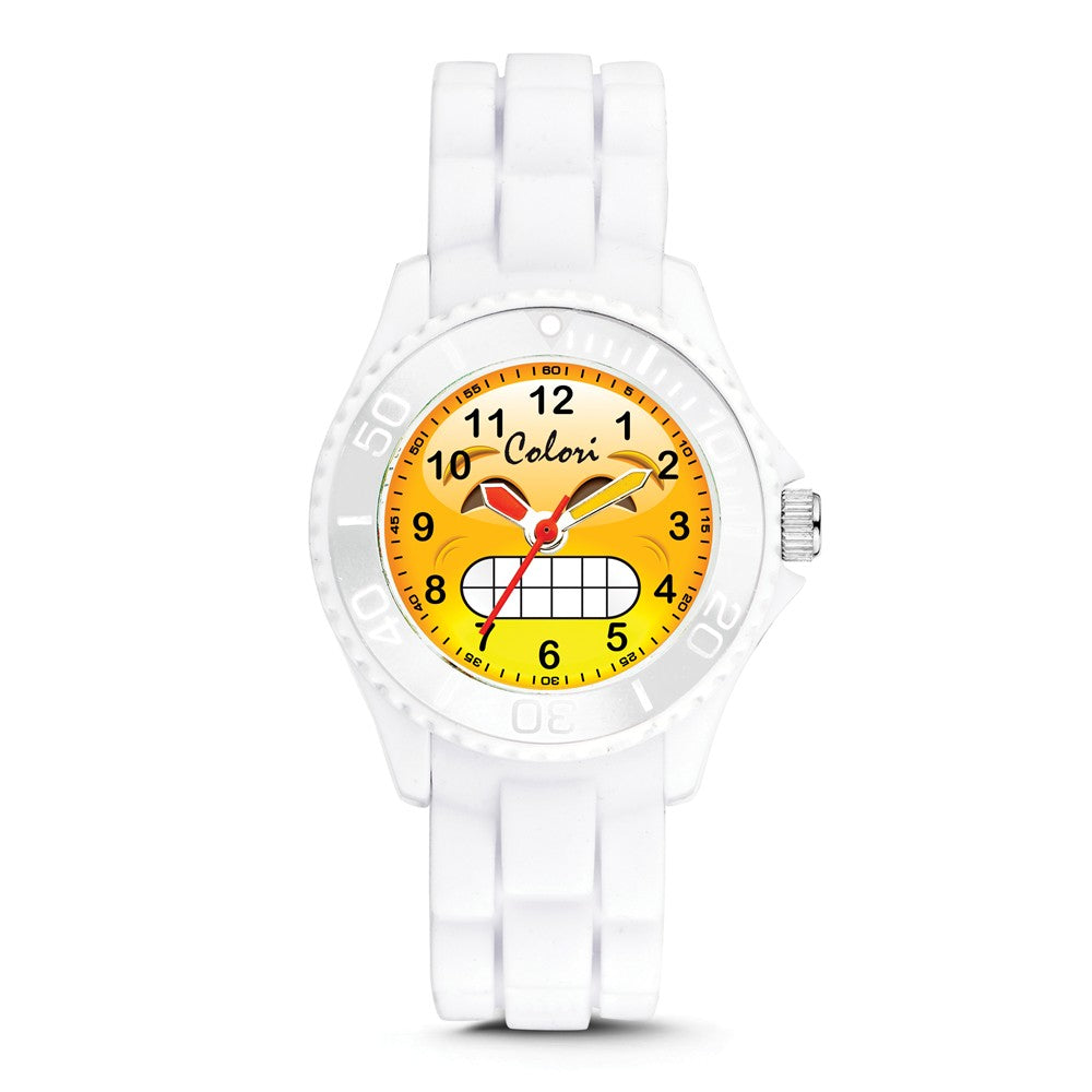 Colori Ladies Happy Smile Chilly 30mm White Key Ring/Watch Set, Item W9154 by The Black Bow Jewelry Co.