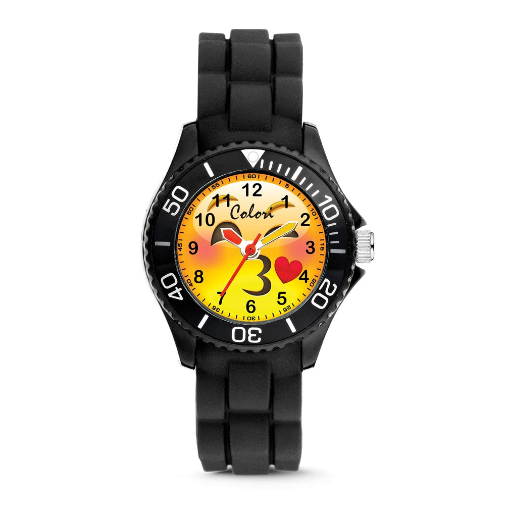 Colori Ladies Happy Smile Kissy 30mm Black Key Ring/Watch Set, Item W9155 by The Black Bow Jewelry Co.