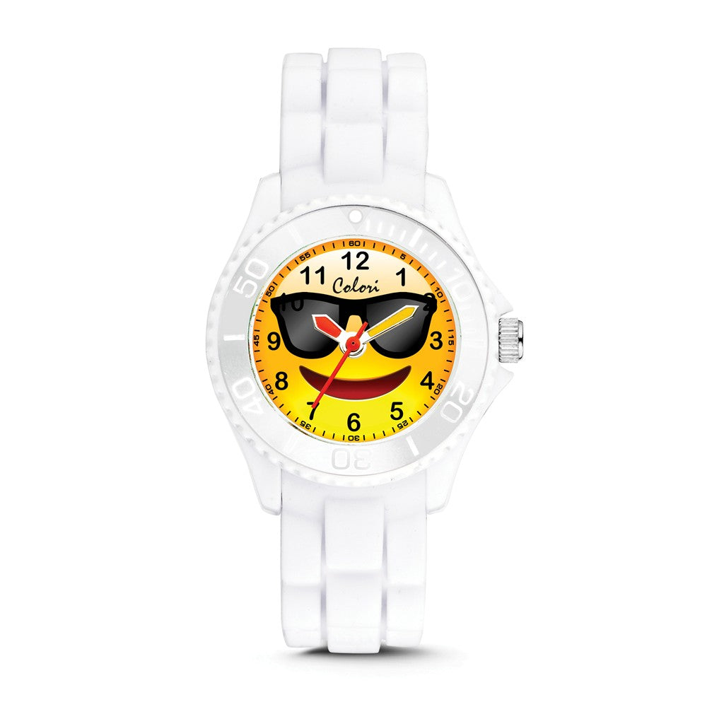 Colori Ladies Happy Smile Sunglasses 30mm White Key Ring/Watch Set, Item W9161 by The Black Bow Jewelry Co.