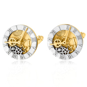 Men's 14k Yellow and White Gold 9.5mm Watch Dial Cuff Links - The Black Bow Jewelry Co.