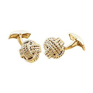 Men's 14k Yellow Gold 15mm Textured Knot Cuff Links - The Black Bow Jewelry Co.
