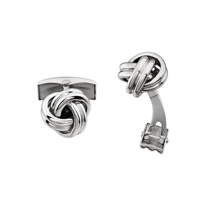 Men's 14k White Gold 12mm Polished Knot Cuff Links - The Black Bow Jewelry Co.