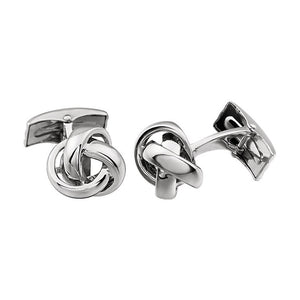 Men's 14k White Gold 14mm Polished Knot Cuff Links - The Black Bow Jewelry Co.