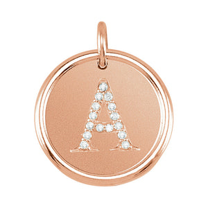 14k Rose Gold and Diamond Initial A-Z Disc Pendant, 17mm (5/8 inch) - The Black Bow Jewelry Co.