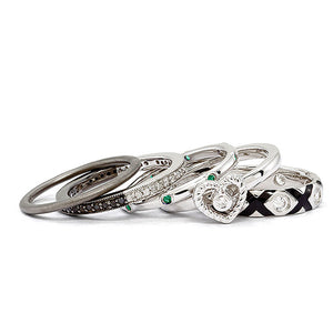 Two Tone Sterling Silver, Diamond & CZ Stackable Romance Ring Set - The Black Bow Jewelry Co.