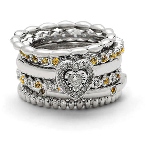 Sterling Silver, Diamond  & Citrine Stackable Heart Ring Set - The Black Bow Jewelry Co.