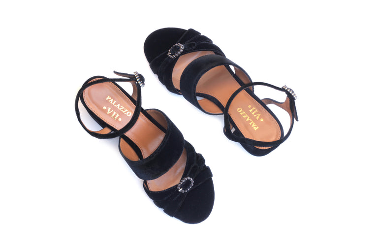 sandals shoes luxury heels velvet leather buckle chique