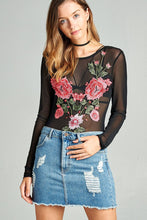 Ladies rose embroidery mesh knit top