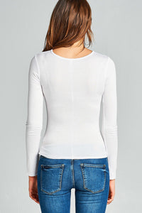 Ladies fashion long sleeves ruched effect top