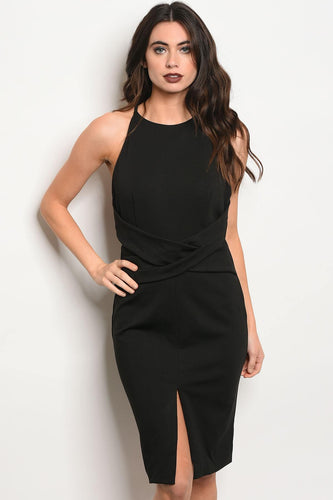 Ladies fashion sleeveless fitted bodycon dress with a crew neckline and middle slit
