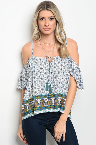 Ladies fashion short sleeve off the shoulder printed top that features a square neckline with a tassel tie
