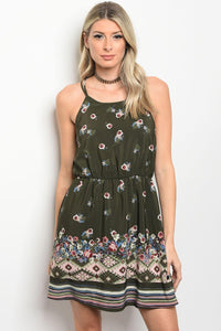 Ladies fashion sleeveless floral print skater dress that features a rounded neckline
