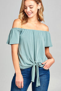 Ladies fashion short sleeve off the shoulder front bow tie sand washed modal jersey top