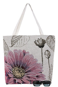 Large floral print tapestry tote bag