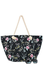 Oversized tropical floral print tote bag