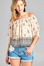 Ladies fashion off the shoulder with floral border print chiffon woven top