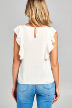 Ladies fashion ruffle cap sleeve round neck front floral embo w/back button detail woven top