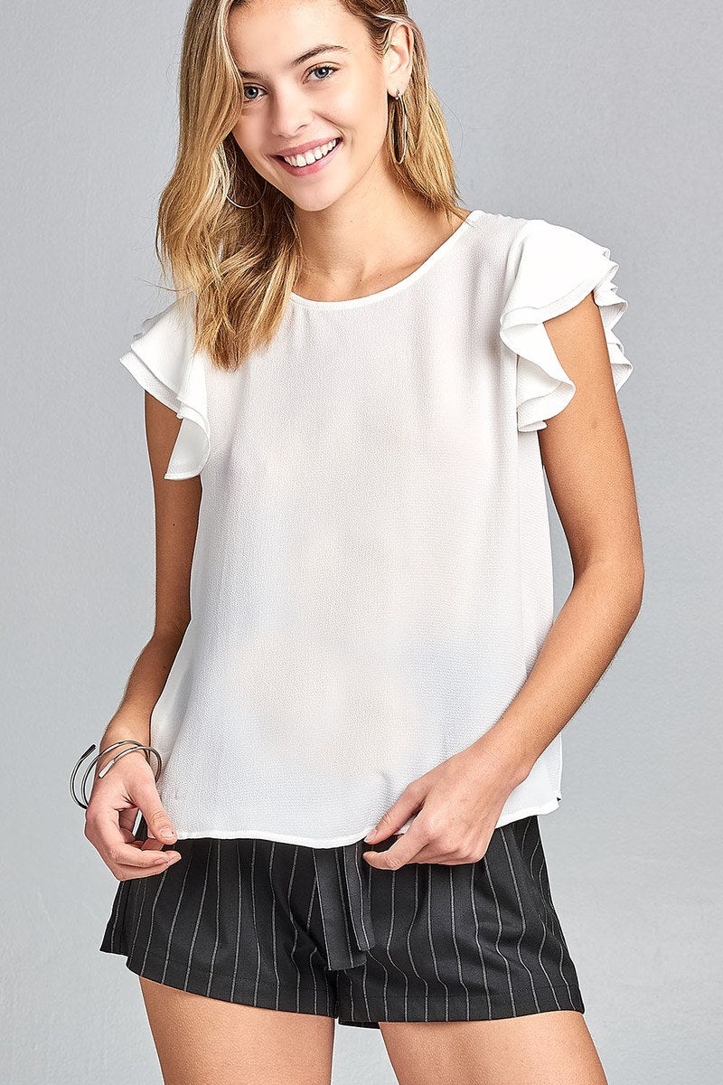 Ladies fashion double layered cap sleeve round neck woven top