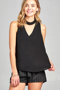Ladies fashion sleeveless double v-neck w/choker crepe woven top