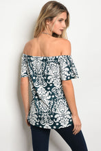 Ladies fashion 3/4 sleeve off the shoulder floral printed top