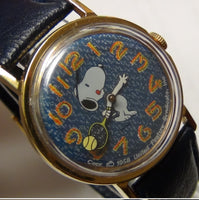 1958 Snoopy Silver Full Size Tennis Watch - Rare