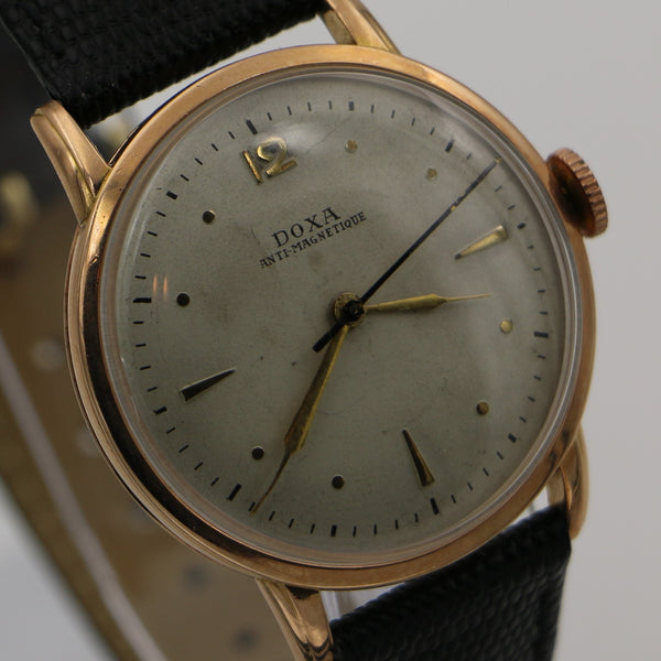 1940s Doxa Men's Solid 14K Rose Gold Swiss Made Large Watch