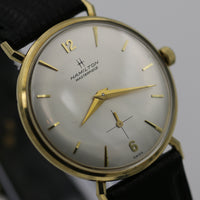1960s Hamilton Masterpiece Men's Solid 14K Gold Swiss Watch w/ Alligator-Lizard