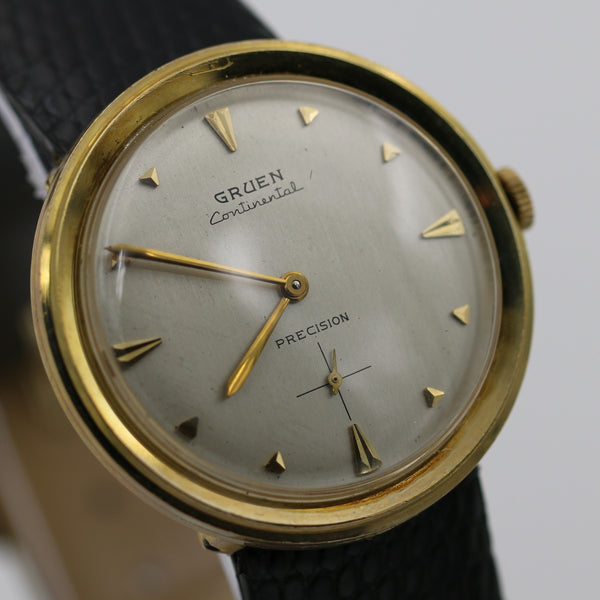 Gruen Continental Men's Solid 14K Gold Hidden Lugs Watch