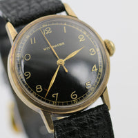 1950s Wittnauer Mens Solid 10K Gold 17Jwl Swiss Made Gorgeous Dial Watch