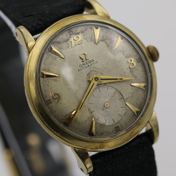 1950s Omega Men's 17 Jwl Automatic Bumper 14K Gold Swiss Made Watch