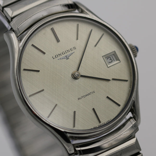 Longines Men's Swiss Made Silver Automatic 25Jwl Calendar Watch w/ Bracelet