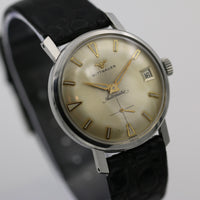 1950s Wittnauer Men's Automatic 17Jewels Calendar Swiss Made Silver Watch w/ Strap