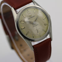 1950s Wittnauer Men's Automatic Silver Swiss Made Watch w/ Leather Strap