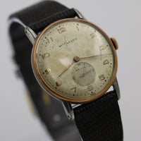 1940s Wittnauer Revue Men's Rose Gold Swiss Made 17Jwl Large Dial Watch